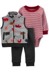 Carter's Set 3 piese bebelus vesta pantaloni si body Animale