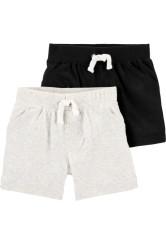 Carter's Set 2 piese pantaloni scurti negru/gri