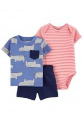 Carter's Set 3 piese tricou, body si pantaloni scurti Rinocer
