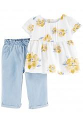 Carter's Set 2 piese top cu flori si pantaloni