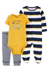 Carter's Set 3 piese pantaloni body si pijama cu dungi