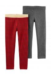 Carter's Set 2 pantaloni cu carouri si cu sclipici