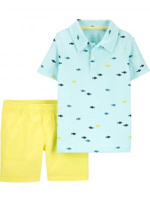 Carter's Set 2 Piese tricou polo si pantaloni scurti Pestisori