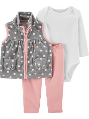 Carter's Set 3 piese bebelus vesta pantaloni si body Buline