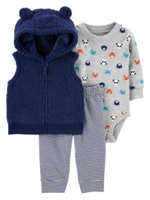 Carter's Set 3 piese bebelus vesta pantaloni si body Ursuleti