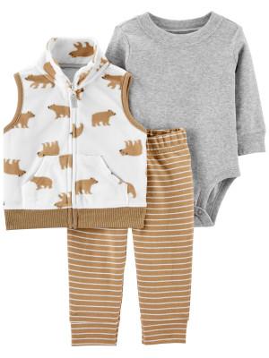 Carter's Set 3 piese bebelus vesta pantaloni si body Urs