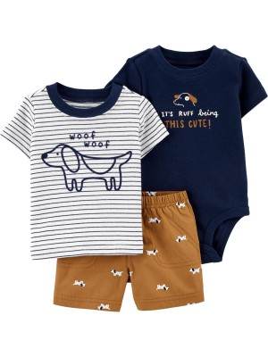 Carter's Set 3 piese body tricou si pantaloni scurti Catel