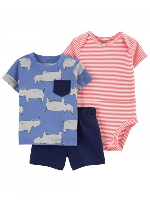 Carter's Set 3 piese tricou, body si pantaloni scurti Rinocer