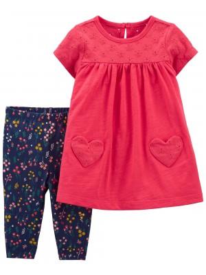 Carter's Set 2 piese rochita si pantaloni floral