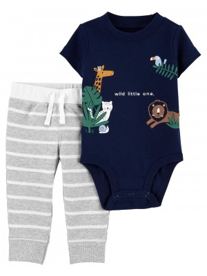 Carter's Set 2 piese body si pantaloni Animale