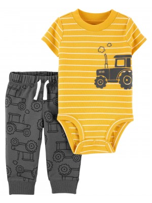 Carter's Set 2 piese body si pantaloni Tractor