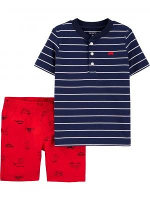 Carter's Set 2 piese tricou si pantaloni Masini