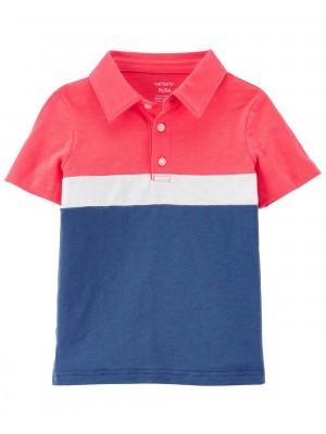 Carter's Tricou polo rosu cu dungi